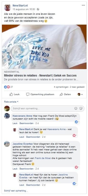 newstart ervaring facebook